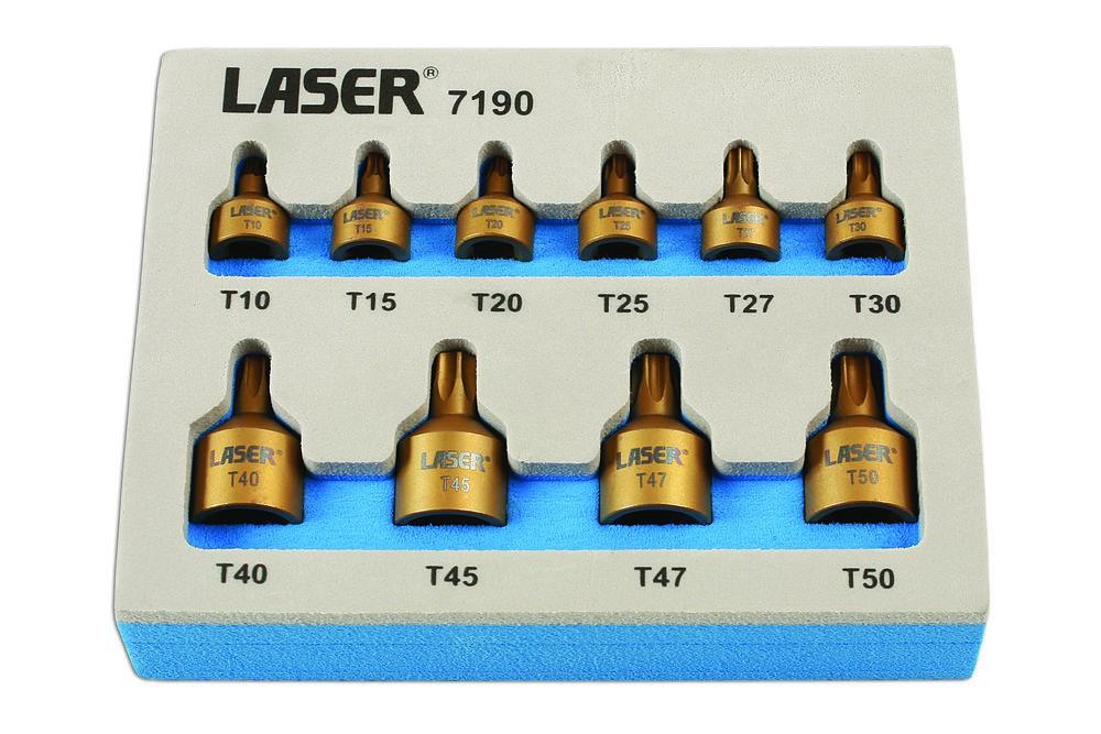 LASER TOOLS NEW SOCKET BIT SET TORX STAR T10 T15 T20 T25 T27 T30 T40 T45 T47 T50
