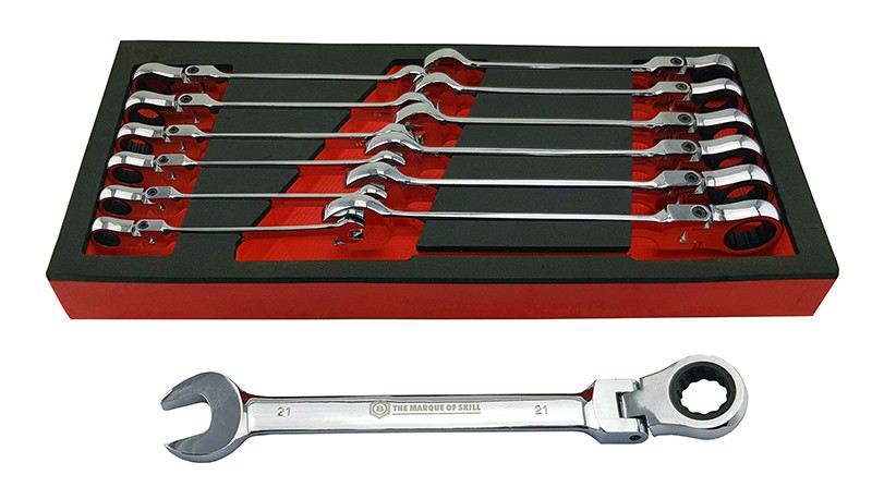 FLEXI RATCHET SPANNER SET 13 PIECES 8-21MM IN TOOL CONTROL FOAM TRAY