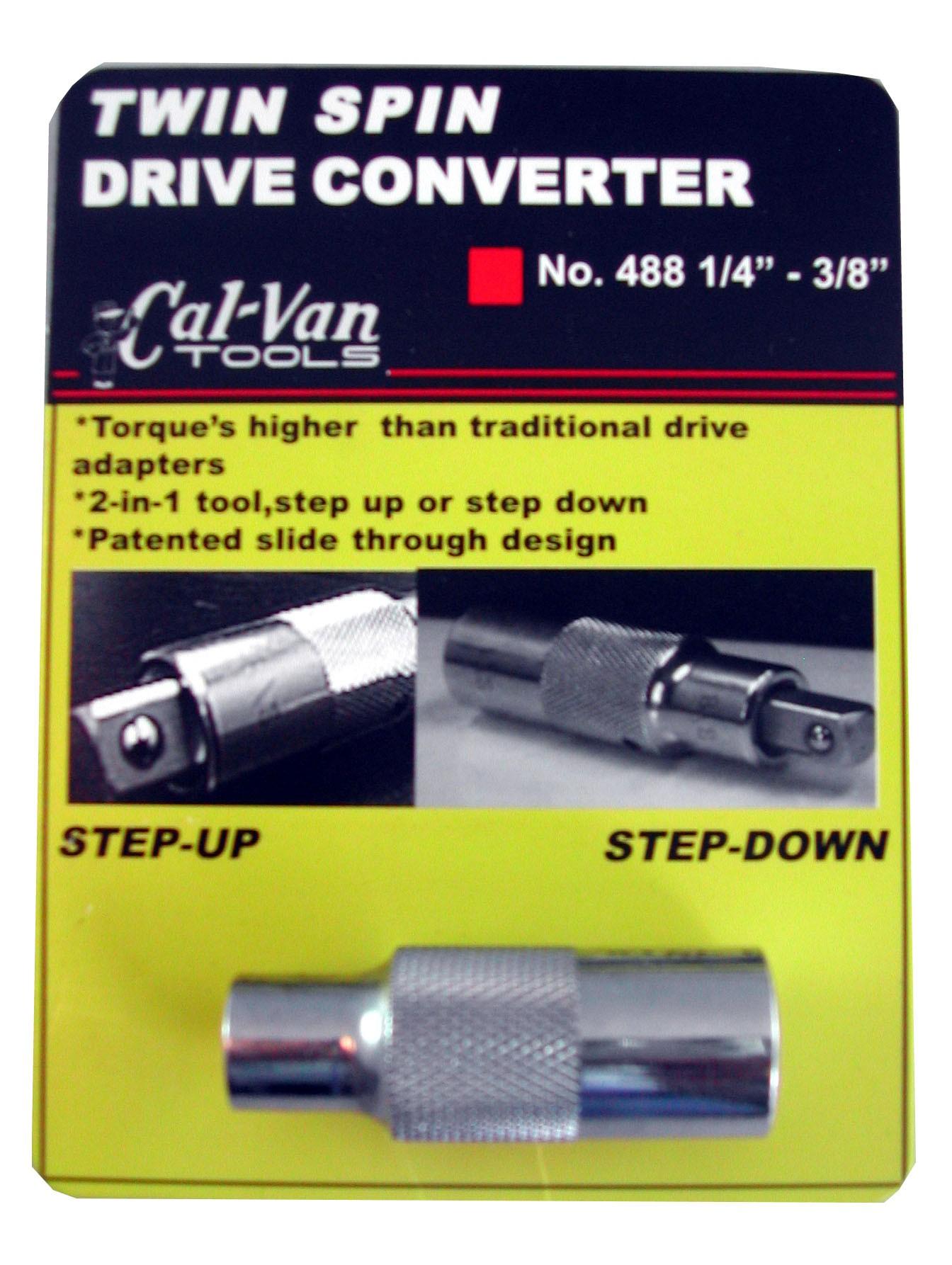 """CALVAN TOOLS TWIN SPIN DRIVE CONVERTER 1/4 - 3/8"""" CV488"""