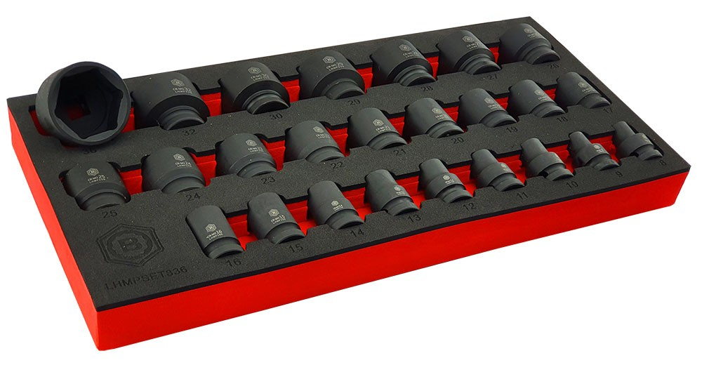 "25PC 1/2"" DRIVE IMPACT SOCKET SET (6 POINT) SIZES 8-36MM FROM BRITOOL HALLMARK"