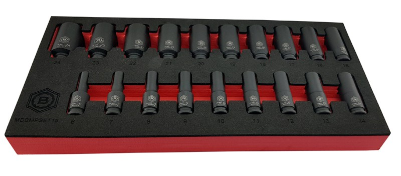 "19PC 3/8""SD DEEP BI-HEXAGON / 12 POINT IMPACT SOCKET SET FROM BRITOOL HALLMARK"