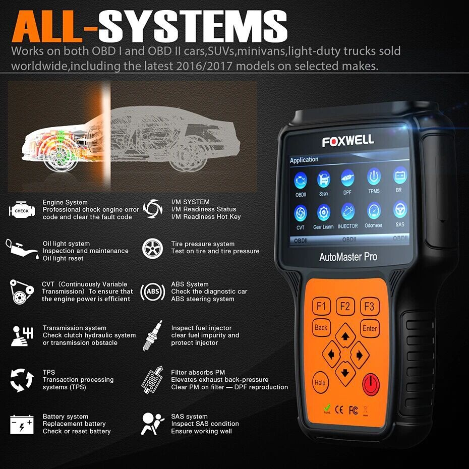 FOXWELL DIAGNOSTIC SCANNER / CODE READER WITH SERVICE RESET & EPB SUITABLE FOR ALL MAKES