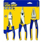 "IRWIN VISE-GRIP 3PC PLIERS SET WITH 6"" CUTTERS, 8"" LONG NOSE & 7"" COMBI PLIERS"