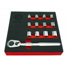 13PC LOW PROFILE / RESTRICTED ACCESS SOCKET AND RATCHET SET FROM BRITOOL HALLMARK