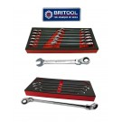 13PC RATCHET SPANNER SET WITH FLEXI RING + DOUBLE FLEXI RATCHET RING WRENCH SET BRITOOL HALLMARK