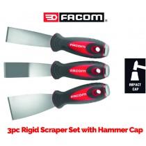 3PC RIGID SCRAPER SET WITH HAMMER CAP FROM FACOM TOOLS