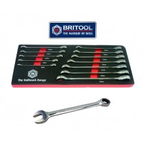 RATCHET SPANNER SET 12 PIECES 8-19MM BRITOOL HALLMARK BHRWSET12