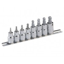 "3/8"" DR HEX (ALLEN) BIT SOCKET SET - BALL-END GENIUS TOOLS BS-308WH"