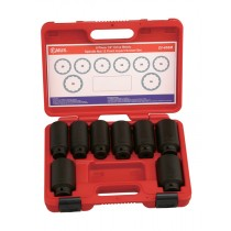 "8 PIECE 1/2"" BI-HEX IMPACT HUB NUT SOCKET SET GENIUS TOOLS DI-408M"