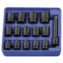 "15PC 1/2"" DR. METRIC IMPACT SOCKET SET GENIUS TOOLS TF-016"