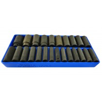 "24PC 1/2"" DR. METRIC DEEP IMPACT SOCKET SET8-32MM FROM GENIUS TOOLS"