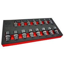 "15PC 1/2"" DRIVE FLEXI / UJ IMPACT SOCKET SET (6 POINT) 10-24MM BRITOOL HALLMARK"