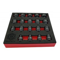 "19PC 3/8"" DR IMPACT SOCKET SET BI-HEXAGON / 12 POINT PROFILE BRITOOL HALLMARK"