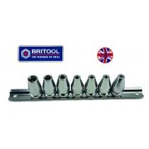 "RARE BRITOOL ENGLAND 7PC 3/8""SD TORX SOCKET SET MTXSET7"