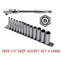 "BRITOOL HALLMARK 1/4"" FLEXI RATCHET SRF172SH + FREE DEEP SOCKET SET 4-14MM SDHMSET3"