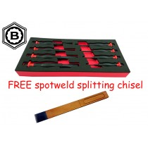 8 PIECE HEAVY DUTY PUNCH & CHISEL SET + FREE SPOTWELD SPLITTING CHISEL BRITOOL HALLMARK
