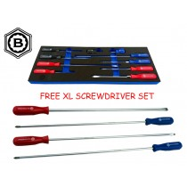 SCREWDRIVER SET 10 PIECES POZI, SLOTTED, PHILLIPS + 4PC XL SET