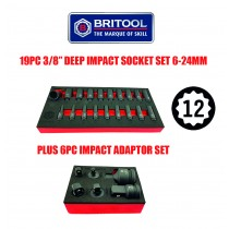 "3/8"" DRIVE 12 POINT IMPACT SOCKET SET + 6PC IMPACT ADAPTOR SET FROM BRITOOL HALLMARK"