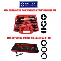 12PC SCREWDRIVER SET + 40PC S2 BIT SET FROM BRITOOL HALLMARK