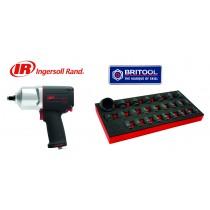 "INGERSOLL RAND 1/2"" DRIVE IMPACT WRENCH 1760NM + BRITOOL IMPACT SOCKET SET 8-36MM"