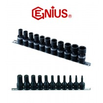 "11PC 1/2"" DR. METRIC SWIVEL IMPACT SOCKET SET GENIUS TOOLS TG-411M"
