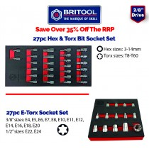 "3/8"" TORX & HEX / ALLEN KEY BIT SOCKET SET + E-TORX SOCKET SET FROM BRITOOL HALLMARK"