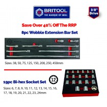 "8PC 3/8"" WOBBLE EXTENSION BAR SET + SOCKET SET (12 POINT) FROM BRITOOL HALLMARK"