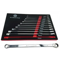 EXTRA LONG DOUBLE RING SPANNER SET WITH RATCHET RING BRITOOL HALLMARK RRXLSET12 12PC