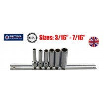"BRITOOL ENGLAND 6PC 1/4"" DEEP SOCKET SET (12 POINT) 3/16-7/16"""