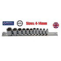 "BRITOOL ENGLAND 11PC 1/4"" SOCKET SET (6 POINT) 4-14MM"