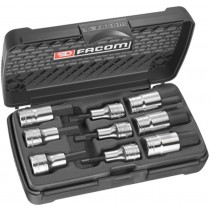 "9 PIECE 1/2"" HEX BIT SOCKET SET 5-19MM FROM FACOM"