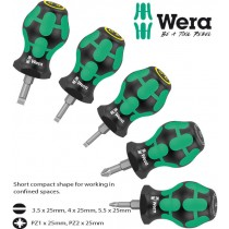 5PC STUBBY POZI PZ & SLOTTED FLAT BLADE SCREWDRIVER SET FROM WERA TOOLS