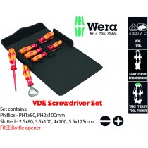 WERA TOOLS VDE INSULATED ELECTRICIANS SCREWDRIVER SET (PH PHILLIPS, SL SLOTTED) + FREE BOTTLE OPENER